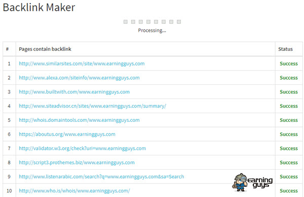 Backlink Maker Result