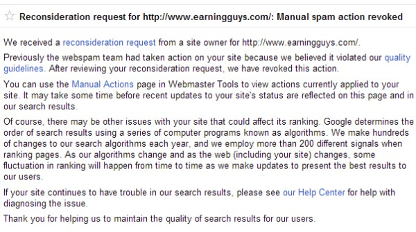 Google Manual Spam Penalty