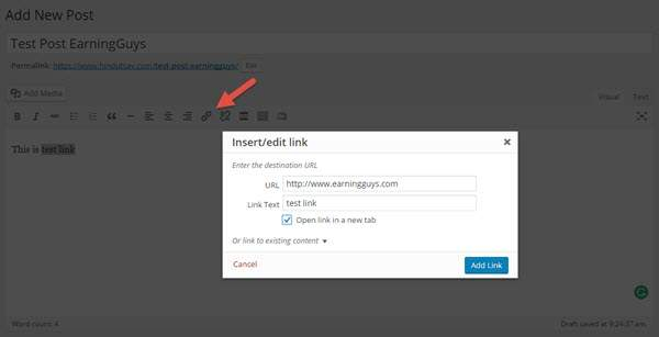 Add Link in WP