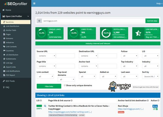 OpenLinkprofiler Free Backlink Checker Tool