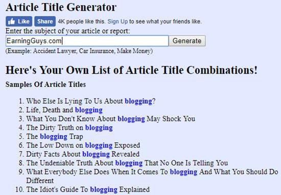 Headline Generator Tool