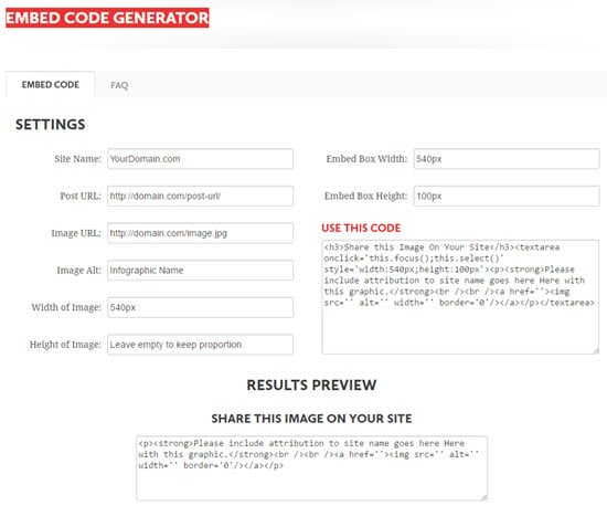 Create an Embed Code for your Infographics
