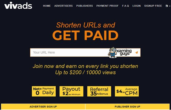Vivads URL Shortener to Earn