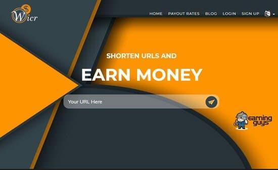 Wicr URL Shortener to Earn Money Online