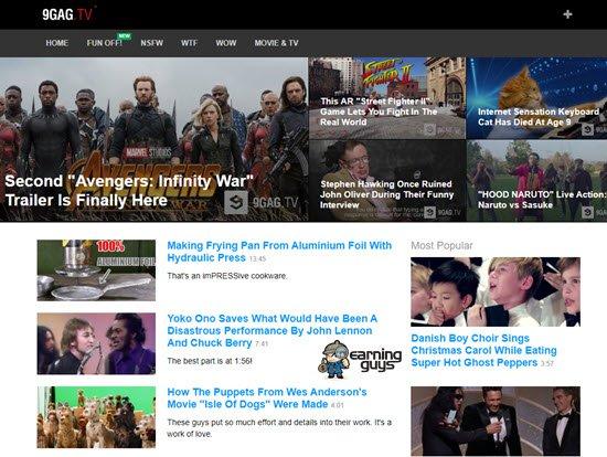 9GagTV YouTube Substitute Website