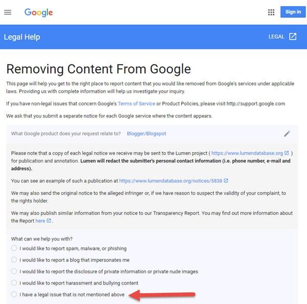 report copied content to Google Copyright Content