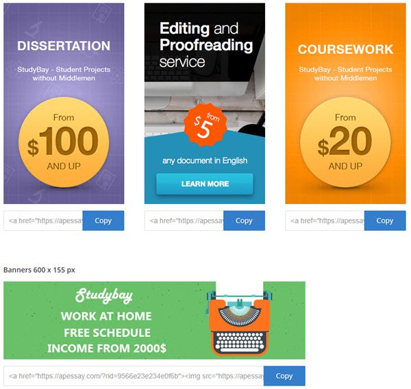 StudyBay affiliate Banners