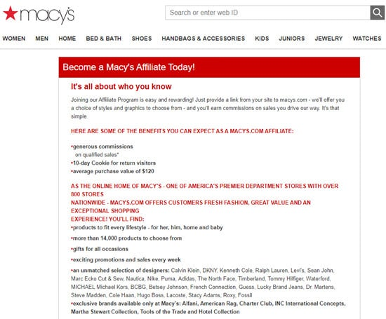 Macy's Affiliate Program
