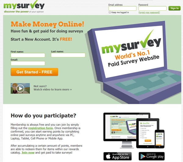 MySurvey Paid Survey Sites