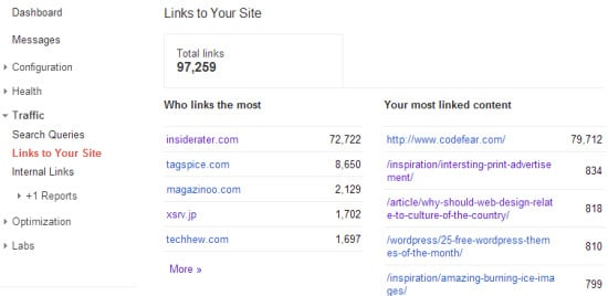 Check Links to Your Site with Google Webmaster Tools